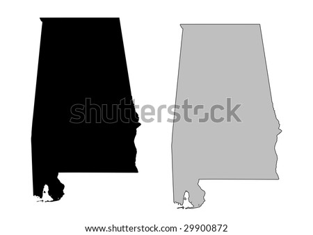 Alabama map. Black and white. Mercator projection. - stock vector
