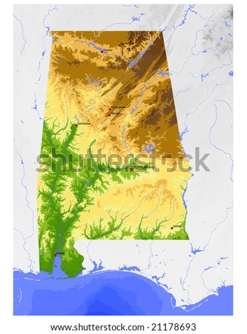 Alabama. Physical vector map, colored according to elevation, with rivers, ocean depths and selected cities. Surrounding territory greyed out. 42 layers, fully editable. - stock vector