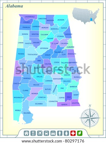 Alabama State Map with Community Assistance and Activates Icons Original Illustration - stock vector