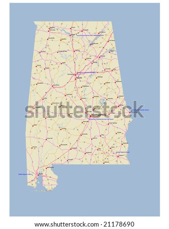 Alabama Transportation Vector Map Rivers Selected Stock Vector ...
