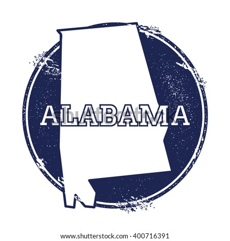 Alabama vector map. Grunge rubber stamp with the name and map of Alabama, vector illustration. Can be used as insignia, logotype, label, sticker or badge of USA state. - stock vector