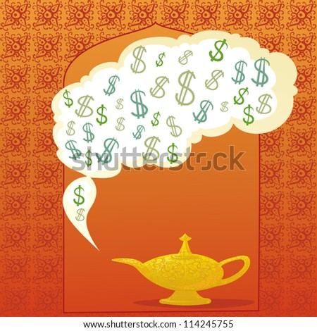 Aladdin's Magic Lamp And Dollars. - stock vector