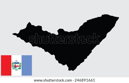 Alagoas, Brazil, vector map and flag isolated on white background. High detailed silhouette illustration. Original Alagoas flag isolated vector in official colors and Proportion Correctly - stock vector
