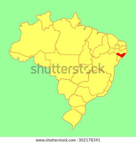 Alagoas, Brazil, vector map isolated on Brazil map. Editable vector map of Brazil.  - stock vector