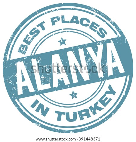 alanya turkey stamp - stock vector