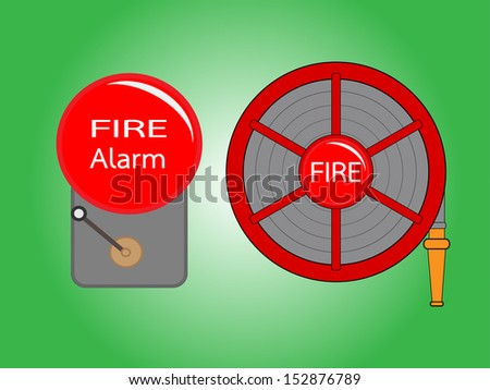 Alarm bell and Fire hose reel  vector illustration .Red Fire hose reel and Alarm bell  isolated on green background