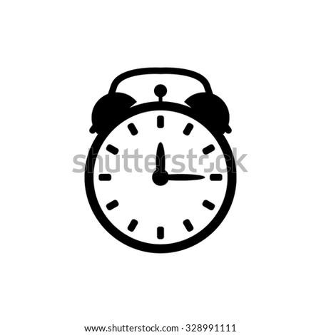 alarm clock - black vector icon - stock vector