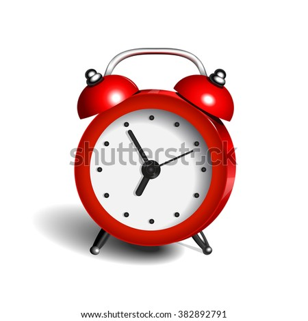 alarm clock 3d vector object pure color red - stock vector
