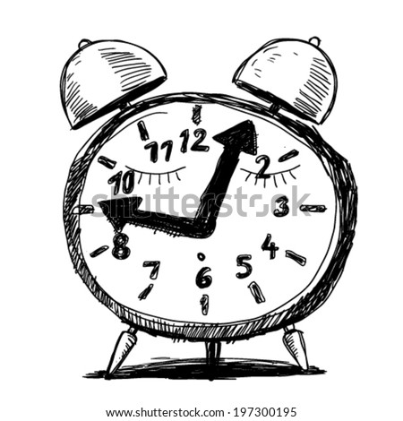 alarm clock, doodle illustration - stock vector