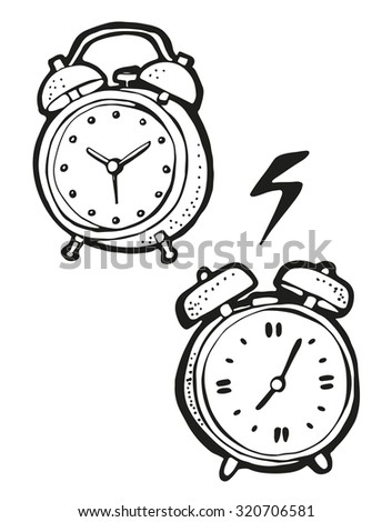 Alarm clock drawing, hand drawn cartoon, isolated on a white background - stock vector
