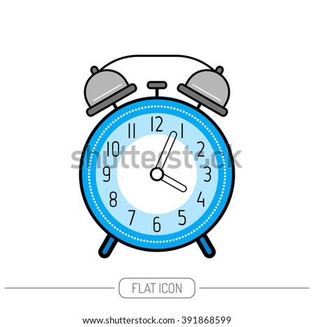 Alarm clock, flat color icon. Clock isolated on white background - stock vector