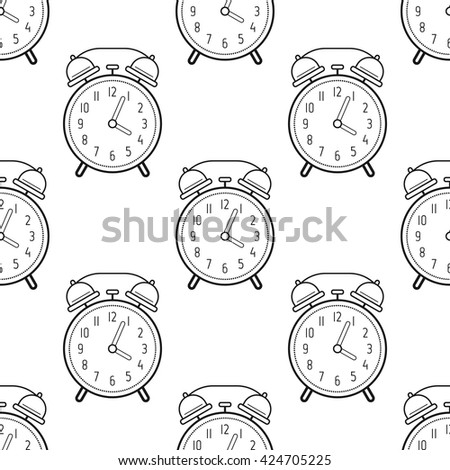 Alarm clock, flat linear icon. Seamless pattern with clocks. Vector  - stock vector