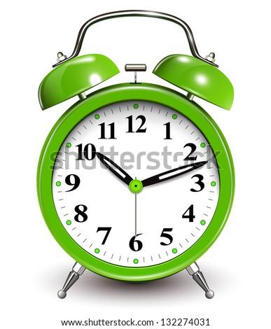Alarm clock green - stock vector