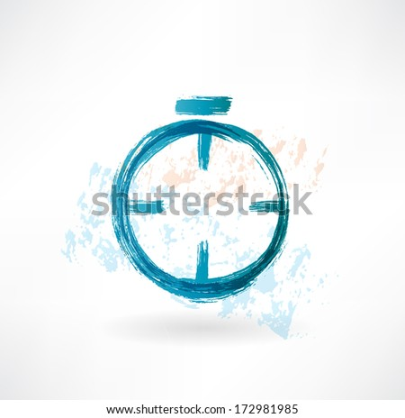 alarm clock grunge icon - stock vector