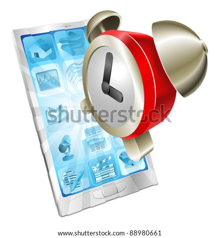 Alarm clock icon coming out of mobile phone screen concept - stock vector