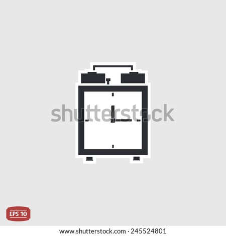 Alarm clock icon. Flat design style. Made vector illustration - stock vector