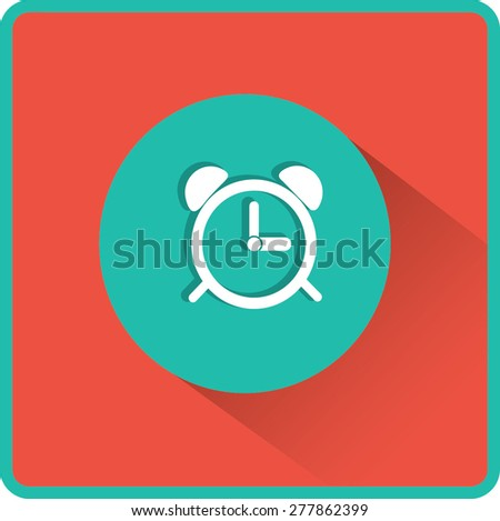 Alarm clock icon. Flat vector illustration - stock vector