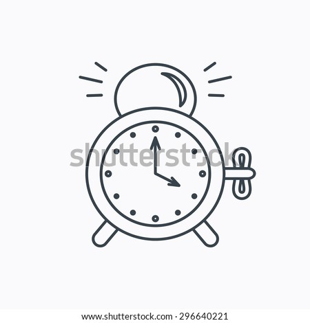 Alarm clock icon. Mechanical retro time sign. Watch with bell symbol. Linear outline icon on white background. Vector