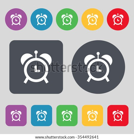 alarm clock icon sign. A set of 12 colored buttons. Flat design. Vector illustration - stock vector
