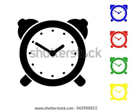 alarm clock icon - vector colored set - stock vector