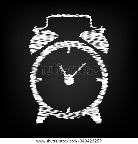 Alarm clock icon with chalk effect  - stock vector