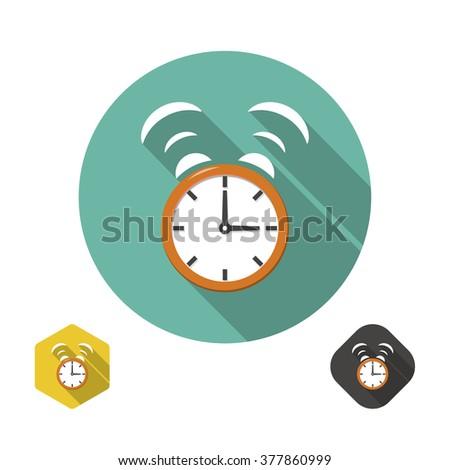 Alarm clock icon with long shadow. Flat design - stock vector