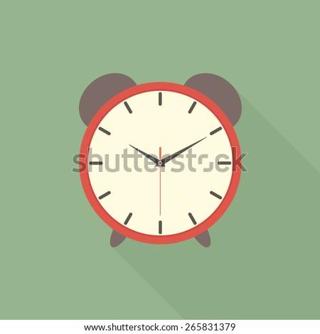 Alarm clock icon with long shadow - Vector - stock vector