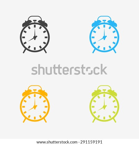 Alarm clock icons in different colors - stock vector