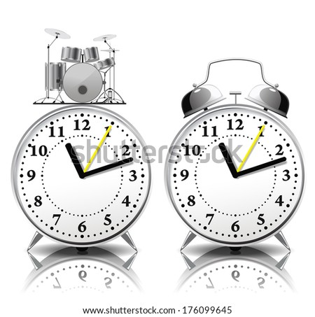 Alarm clock in a retro style and alarm clock with drum bell are on white background. - stock vector