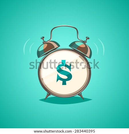 Alarm clock is showing a money time. Isolated object \ background. - stock vector
