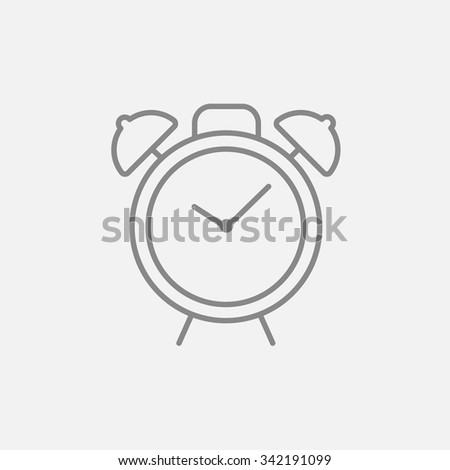 Alarm clock line icon for web, mobile and infographics. Vector dark grey icon isolated on light grey background. - stock vector