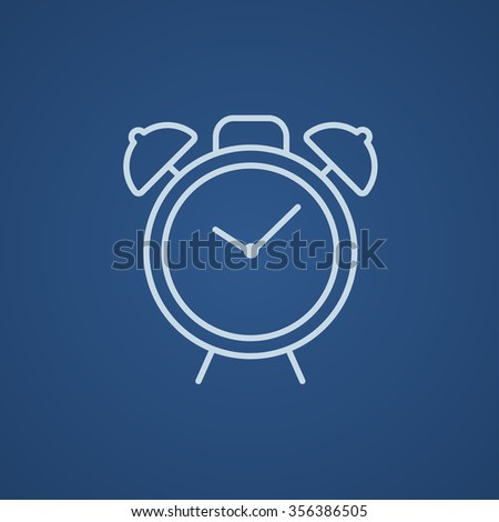 Alarm clock line icon for web, mobile and infographics. Vector light blue icon isolated on blue background. - stock vector