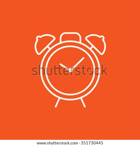 Alarm clock line icon for web, mobile and infographics. Vector white icon isolated on red background. - stock vector