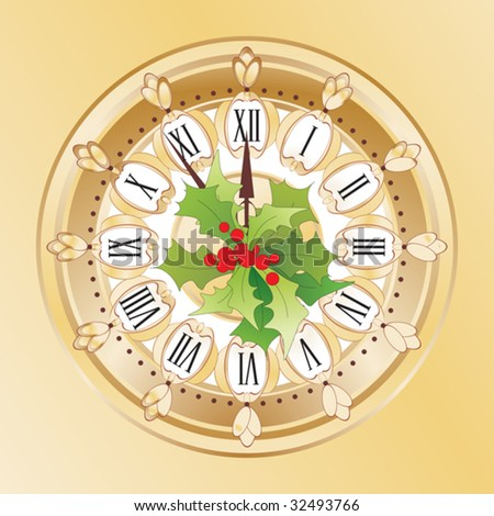 Alarm clock;New Year's background - stock vector
