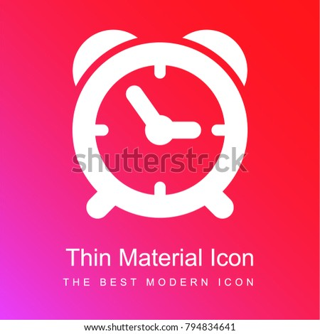 Alarm clock of circular shape red and pink gradient material white icon minimal design