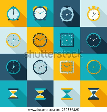 Alarm clock old sand watch stopwatch timer icons flat set isolated vector illustration - stock vector