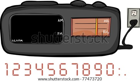 Alarm clock radio with blank areas for time and frequency - stock vector