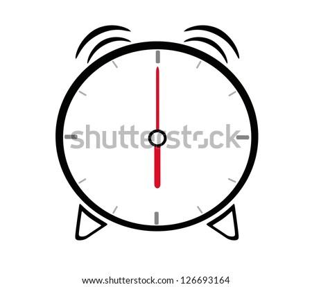 alarm clock showing six oclock stock vector 126693164 shutterstock rh shutterstock com Telling Time Clip Art Symbol 6 O Clock Clock Face