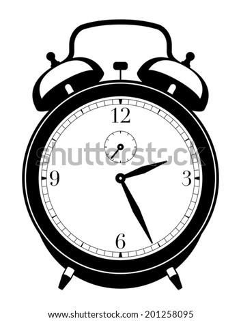 Alarm clock silhouette - stock vector