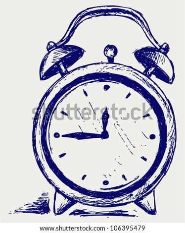 Alarm clock. Sketch - stock vector