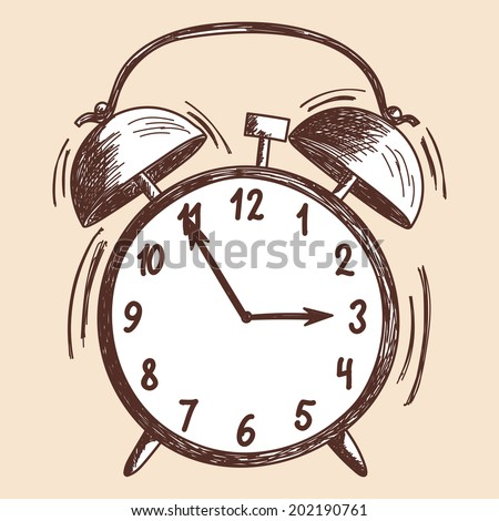 Alarm clock sketch. EPS 10 vector illustration without transparency.  - stock vector