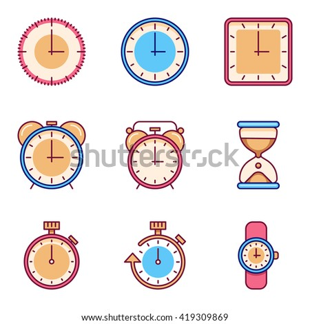 Alarm clock, timer, watch flat vector icons. - stock vector