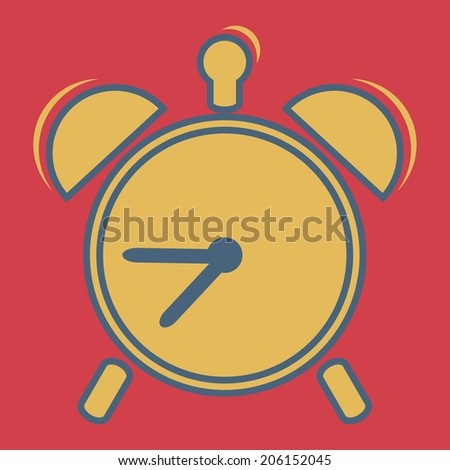 Alarm clock, vector, flat icon (from set Back to school) - stock vector