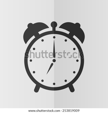 Alarm clock vector icon. Effect of folded paper. Flat design - stock vector