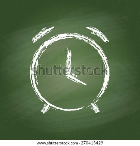 Alarm clock vector icon on chalk board. Chalk hand-drawn graphic style. Realistic vector EPS10 illustration. - stock vector