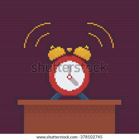Alarm Clock - Vector Illustration in Pixel Art Classical Technique - stock vector