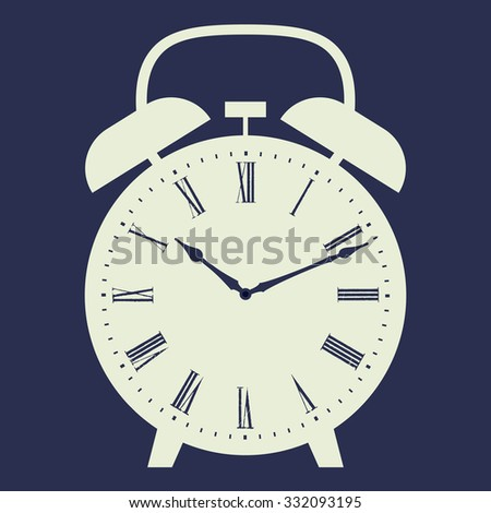 Alarm clock vector illustration on dark blue background. Dial with Roman numerals.
