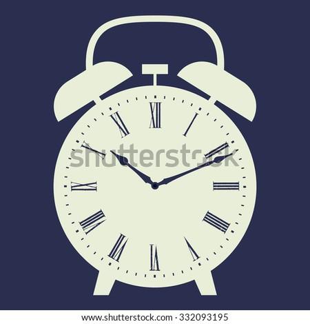 Alarm clock vector illustration on dark blue background. Dial with Roman numerals. - stock vector