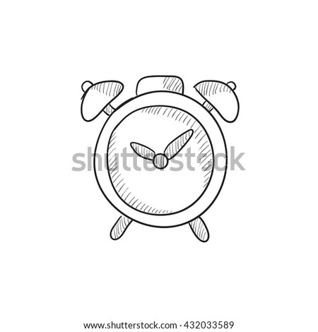 Alarm clock vector sketch icon isolated on background. Hand drawn Alarm clock icon. Alarm clock sketch icon for infographic, website or app. - stock vector