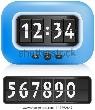 Alarm Clock with different numbers that can be exchanged. Isolated vector on white background.
